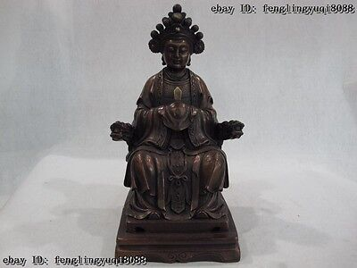 Chinese Copper Bronze Dragon Taoism Queen Mother of the West Empress God Statue