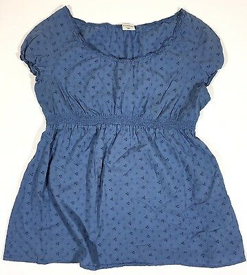 Womens Motherhood Maternity L Blue eyelet SS Lightweight Top Blouse 100% Cotton