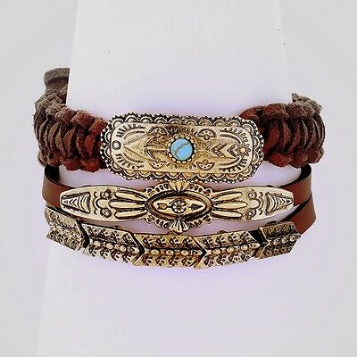 3 Pcs- Tribal Arrow Suede Leather Stack - Burnished GOLD Turquoise - Boho Gypsy
