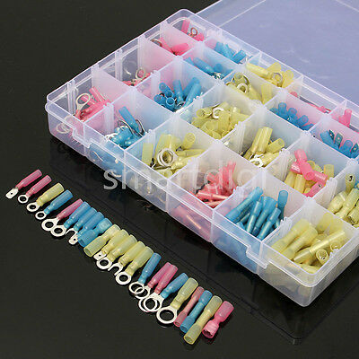 480PCS Heat Shrink Wire Connectors Assortment Crimp Terminals Marine Case Kit