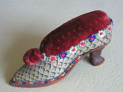 Antique Victorian Beaded Leather Ladies shoe Pin Cushion Sewing Folk Art