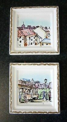 Vintage Ceramic Wall Plaques Hand Painted Framed Miniature Artworks
