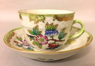 HEREND Porcelain Queen Victoria VBO Demitasse Cup and Saucer Set 1728