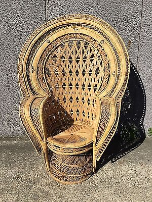 VINTAGE '60's Emmanuelle CANE PEACOCK CHAIR WICKER RETRO ORIGINAL Mid Century 1