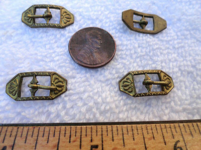 12 Vintage Miniature Brass Buckles,Deco,10mm x 22mm, Shoes, Doll Clothes,Jewelry