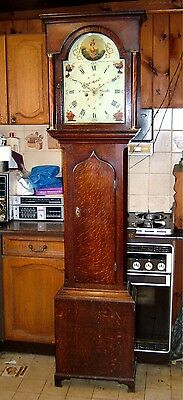 Good Georgian Oak & Inlaid 8 day Antique Longcase Grandfather Clock C1790