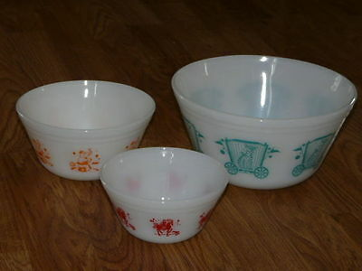 3 Vintage FEDERAL CIRCUS Glass Nesting Mixing Bowls