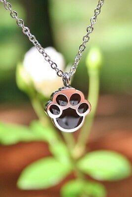 Pet Cremation Jewelry Pendant Urn NECKLACE Paw Print Dog Cat Memorial Gift Ashes