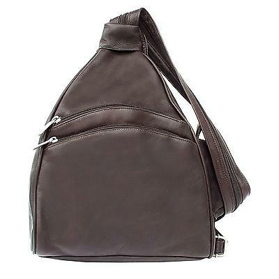 Piel Leather Two Pocket Sling, Chocolate, One Size