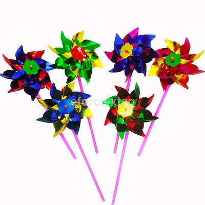 10Pcs Plastic Colorful Windmill Pinwheel Wind Spinner Kids Toy For Party Decor k