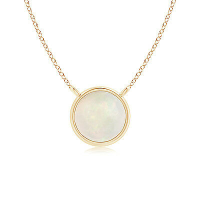 "Bezel Set Round Opal Solitaire Pendant Necklace 14K Yellow Gold/ Silver 18""Chain"