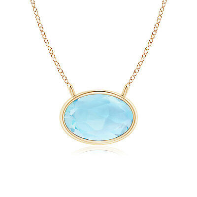 "East West Blue Topaz Solitaire Pendant Necklace 14K Yellow Gold 18"" Chain"