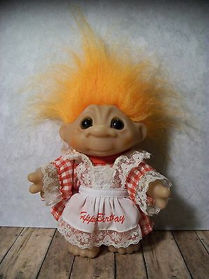 "Super Sweet Vintage Thomas Dam Troll - 6"" - ""Happy Birthday"", Gingham Dress"