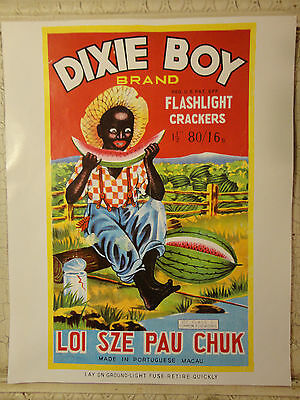 DIXIE BOY BRAND FLASHLIGHT CRACKERS PRINT-LOI SZE PAU CHUK-14x11-BLACK AMERICANA