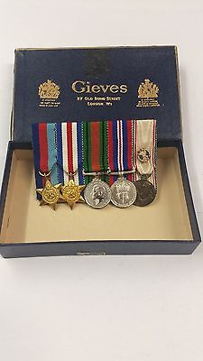 *** Group of 5 Miniture Medals & Matching Ribbon Bar ***