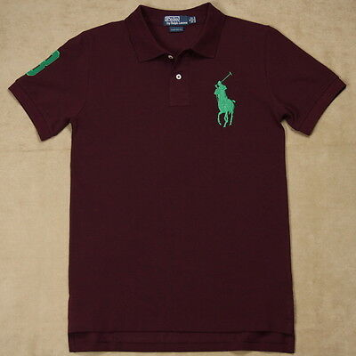 New Ralph Lauren Polo Shirt Custom Fit Green Big Pony Men No 3 Burgundy S M L XL