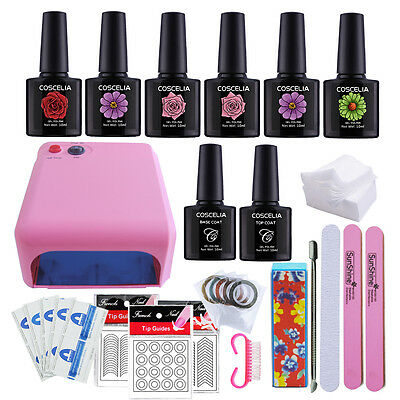 36 W Rose Lampe Sèche ongle Vernis Semi-permanent Faux Ongles Nail Art Kit