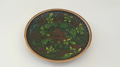 Green cloisonné on brass vintage Art Deco Jaapanese oriental antique small plate
