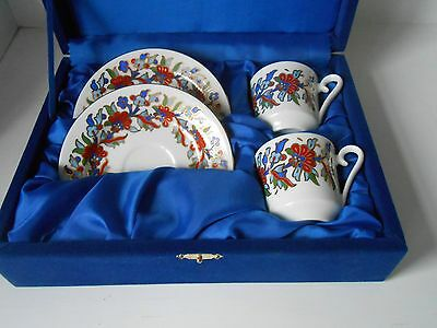 Turkish  HAND PAINTED PORCELAIN Coffee/Espresso Set in BLUE Velvet Gift Box 4 PC