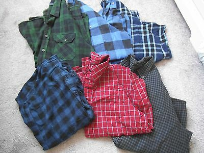 Joblot of 6 heavy flannel cotton check vintage shirts oversized mens lumberjack