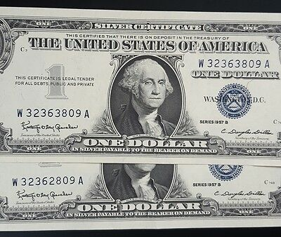 1957 B USA $1 Silver Certificate Dollar (UNUSUAL PAIR ???) UNCIRCULATED...