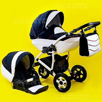 Travel system 2 in 1 pram baby pushchair stroller white eco-leather Kente 05