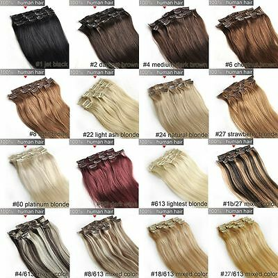100% Real Human Hair 7pcs/set Remy Hair Clips in Hair Extensions 70g 14inch