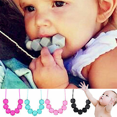 Cute Necklace Silicone Baby Teething Chain Beads BPA-Free Charm Polygon Teether