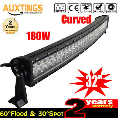 32inch Curved 180W LED Work Light Bar Combo OffRoad SUV Lamp Car Light 4WD DE