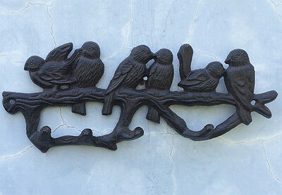 CAST IRON BIRDIES LOVER BIRDS Towel Coat Hat Hooks Key Rack Hanger Home Ornament