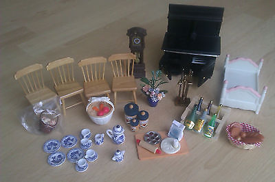 Dolls House Furniture Range Clock Tea set Wine Kitchen Items Food Chairs Job Lot