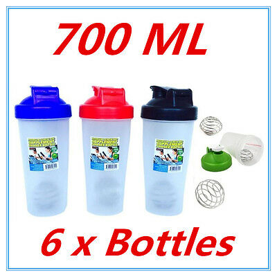 6X GYM PROTEIN SUPPLEMENT DRINK BLENDER MIXER SHAKER SHAKE BALL BOTTLE CUP 700ml