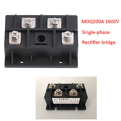 NEW 200A 1600V MDQ200A Single Phase Diode Rectifier Bridge Module 4 Terminals