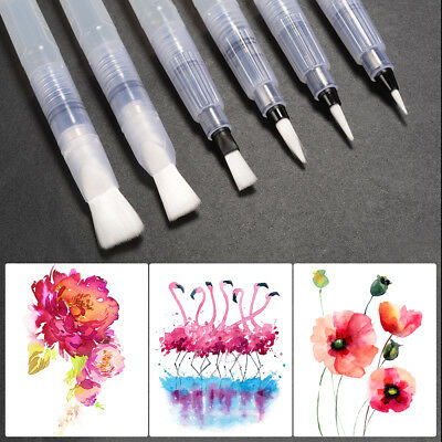 6x Artist Ink Pen Water Brush Pen Set for Watercolor Calligraphy Painting AC791