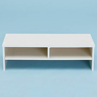 Eco-White Desktop Monitor Stand LCD TV Laptop Computer Screen Riser Shelf UK