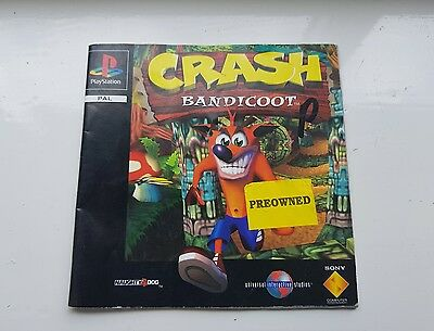 *MANUAL ONLY* Crash Bandicoot  PS1 Sony PlayStation 1 PAL Instructions