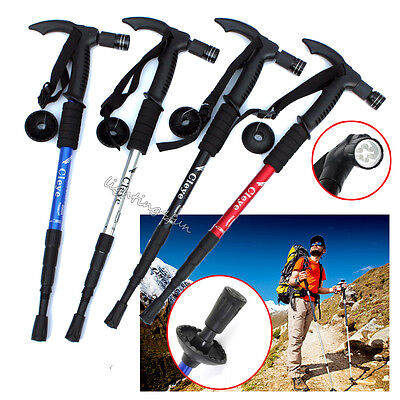 LED Trekking Walking Stick Camping Hiking Pole Alpenstock For Mountain Climbing
