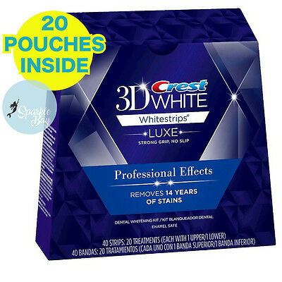 Crest3D White Luxe Professional Blanchiment Dentaires 20 sachets 40 bandes boîte
