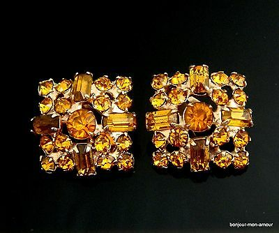 1950's Bernsteinfarbene Cocktail Party Glamour Strass Ohrclips Ohrringe