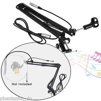 Condenser Microphone Sound Studio Suspension Boom Scissor Arm Stand W/ Mic Cable