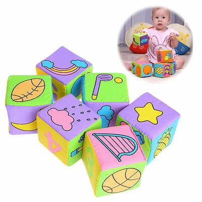 6Pcs/Set Baby Infant Cloth Building Block Rattle Soft Cube Educational Plush Toy