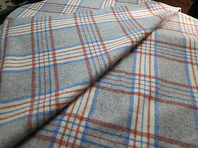 Welsh Wool Blanket - shades of grey, blue and red stripe