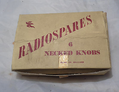 Rare Unused Box Of ' Radiospares ' 6 Original Bakelite Necked Knobs Walnut Parts