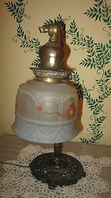 Lamp Goose Neck W/frosted H.p Shade Oval Brass Base Electric Antique