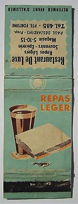 Antique  Matchbook Cover Restaurant De Luxe Pte Fortune Quebec Repas Legers