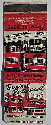 Antique  Matchbook Cover Terminal Restaurant Bloor Bay Street Toronto Ontario