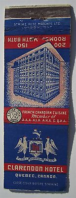 Early Matchbook Cover Hotel Clarendon Quebec Canada 200 Rooms