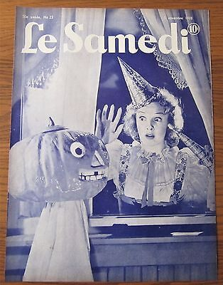 Original 1938 French Canadian Magazine Cover Halloween Scary Evil Pumpkin
