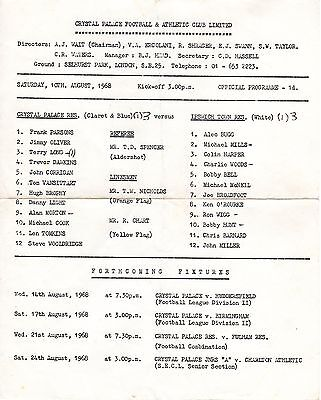 Crystal Palace v Ipswich Town Reserves Programme 10.8.1968 Combination Cup