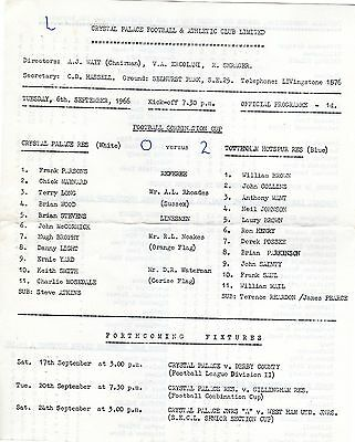 Crystal Palace v Tottenham Reserves Programme 6.9.1966 Combination Cup